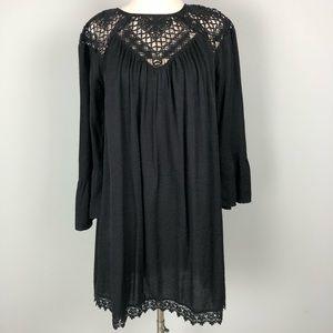 Umgee | Black Shift Dress Lace Nack Hem